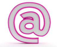 At - email - @ symbol. 3D letter with glossy pink outline at @ symbol Stock Images
