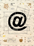 Email symbol as technical blueprint drawing Royalty Free Stock Images