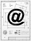 Email symbol as technical drawing Royalty Free Stock Photo