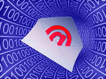 Email symbol on binary tunnel  background Stock Photo