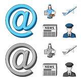 Email symbol, courier with parcel, postal airplane, pack of newspapers.Mail and postman set collection icons in cartoon. Monochrome style vector symbol stock Royalty Free Stock Photo