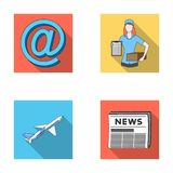 Email symbol, courier with parcel, postal airplane, pack of newspapers.Mail and postman set collection icons in flat. Style vector symbol stock illustration Stock Photography