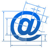 Email symbol with dimension lines Royalty Free Stock Image