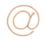 Email symbol drawn by a rope. On white royalty free stock image
