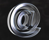 Email symbol in glass - 3D Stock Images