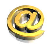 Email symbol in gold (3d) Stock Images