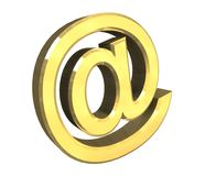 Email symbol in gold (3d) Stock Photo