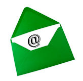 Email symbol in green envelope Royalty Free Stock Photos