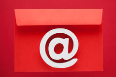 Email Symbol Internet Icon. White Email Symbol Internet Icon Sign Red Envelope Letter Stock Image