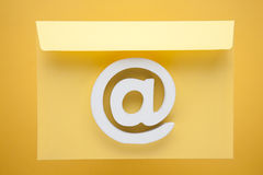 Email Symbol Internet Icon. White Email Symbol Internet Icon Sign Yellow Envelope Letter Royalty Free Stock Photos