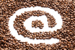 Email symbol made from coffee beans Stock Images