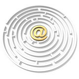 Email symbol maze. 3d golden email symbol in the maze center Royalty Free Stock Photos
