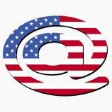 EMail-Symbol mit amerikanischer Flagge Stockfotografie