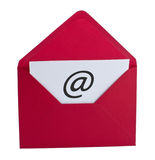 Email symbol in red envelope Royalty Free Stock Photos