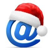 Email symbol in red Santa Claus hat