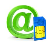 At email symbol and SIM card Royalty Free Stock Image