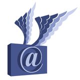 Email symbol with wings. Royalty Free Stock Images