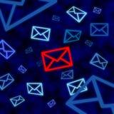 Email symbolen som uppsätta som mål av elektronisk bevakning i cyberspace royaltyfri illustrationer