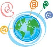 Email Symbols around Globe. Including Vector Format vector illustration