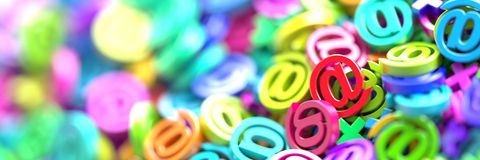 Email symbols, 3d rendering background Royalty Free Stock Images