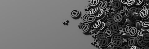 Email symbols, 3d rendering background Stock Images