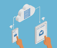 Email synchronization of smartphone and tablet pc. Isometric illustration of email synchronization of smartphone and tablet pc via cloud server Stock Photography