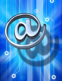 Email At Technology Marketing Background. A metal email alias symbol or at sign with a computer circuit board background Royalty Free Stock Photos