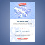 Email template with greeting Christmas and Happy Royalty Free Stock Photo