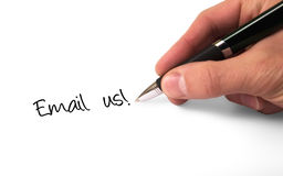 Email Us. Fountain pen writing Email Us royalty free stock photo