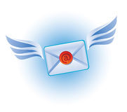 Email vector icon. Email icon - flying letter with wings stock illustration
