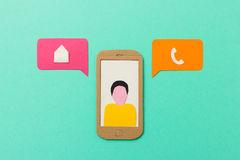 Email vs calling - mobile communication concept Stock Photos