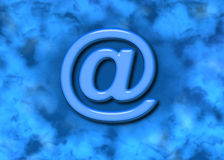 Email @ Web Symbol & Blue Background. Gorgeous bright blue, teal, and aqua. Glass email symbol over painted textured background Stock Photos