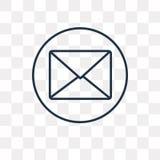 Email wektorowa ikona odizolowywająca na przejrzystym tle, liniowy Ema ilustracji