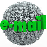 Email Word At Symbol Signs Electronic Mail Message. The word e-mail on a sphere of at signs or symbols to illustrate an overwhelming number of electronic mail Stock Images