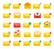 Email yellow message letter envelope,cover icons vector set. Royalty Free Stock Photography