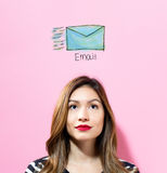 Email with young woman Royalty Free Stock Image