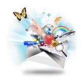 EMail-Zeichen-Öffnung auf Weiß Stockbild