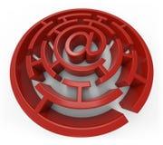 Emaila czerwony labirynt odizolowywający Obrazy Stock