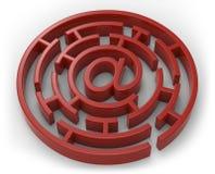 Emaila czerwony labirynt odizolowywający Zdjęcia Stock