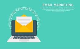 Emaila marketing, gazetka marketing, email prenumerata i kapinos, prowadzimy kampanię z ikoną Płaski projekt, wektorowa ilustracj ilustracja wektor