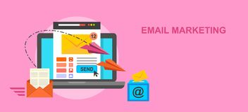Emaila marketingowego pojęcia wektorowa ilustracja, mieszkanie styl Zdjęcie Stock