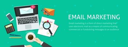 Emaila marketingowy sztandar, email analizuje gazetki kampanii dane lub sprawdza ilustracja wektor