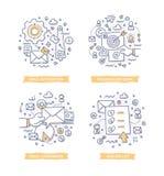 Emaila marketingu Doodle ilustracje Zdjęcie Stock