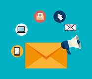 Emaila marketingu projekt, wektorowa ilustracja ilustracja wektor