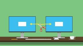 Emaila porwania samolotu ilustraci dwa komputeru transfer danych porywający samolot siekającym