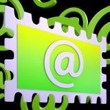 Emaila znaczek Pokazuje Korespondencyjną poczta Przez interneta Zdjęcie Stock