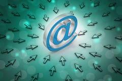 Emaila znak z mysz pointerem Obrazy Royalty Free