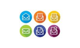 Emailen bokstaven, internet överför logovektorsymbolen stock illustrationer
