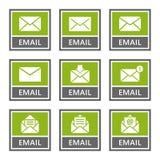Emailen Sie die eingestellten Zeichen und Ikonen, Postmitteilung lizenzfreie abbildung