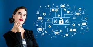 Emailen Sie Virus- und Betrugsthema mit Geschäftsfrau lizenzfreie abbildung